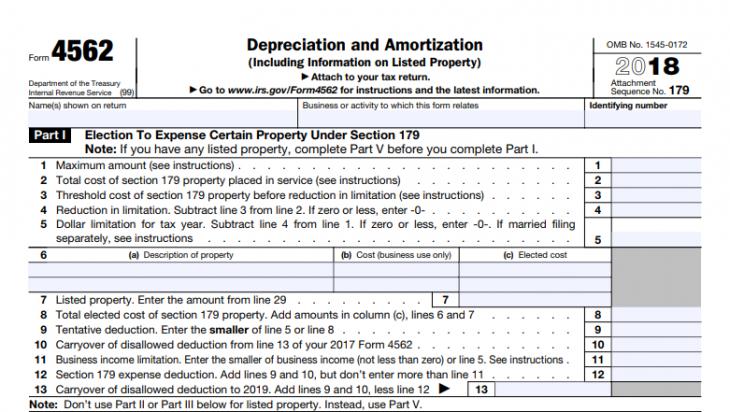 IRS Form 4562